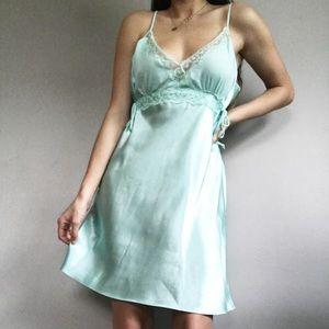 Vintage Mint Green Light Blue Satin Slip Dress